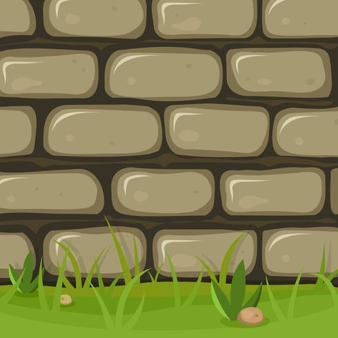 tecknad lantlig stenmur vektor