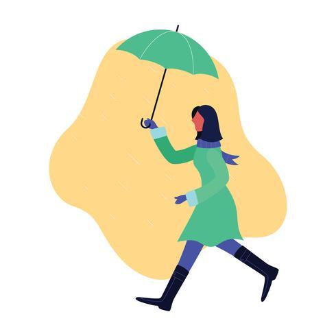 Flicka som håller paraply i regnet vektor