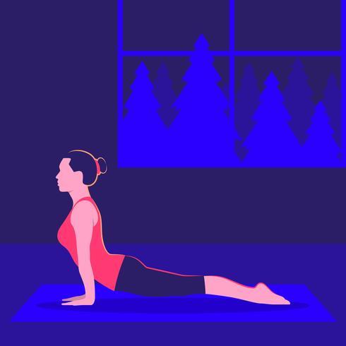 Junge Frau übende Yoga-Kobra Asana-Innenklassen-Illustration vektor