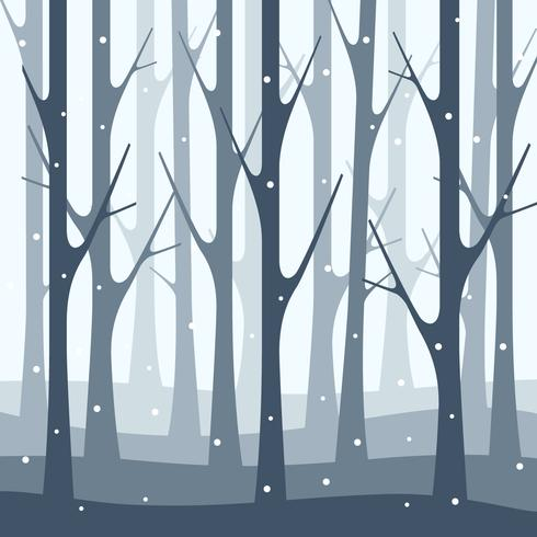 Snöfall Vinter Skog Natur Illustration Bakgrund vektor