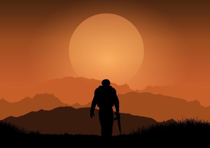 Soldat gegen Sonnenunterganglandschaft vektor