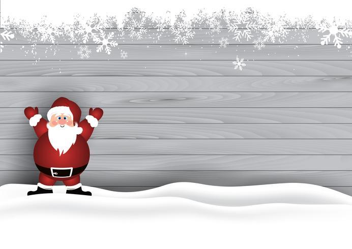 Jul bakgrund med Santa på trästruktur vektor