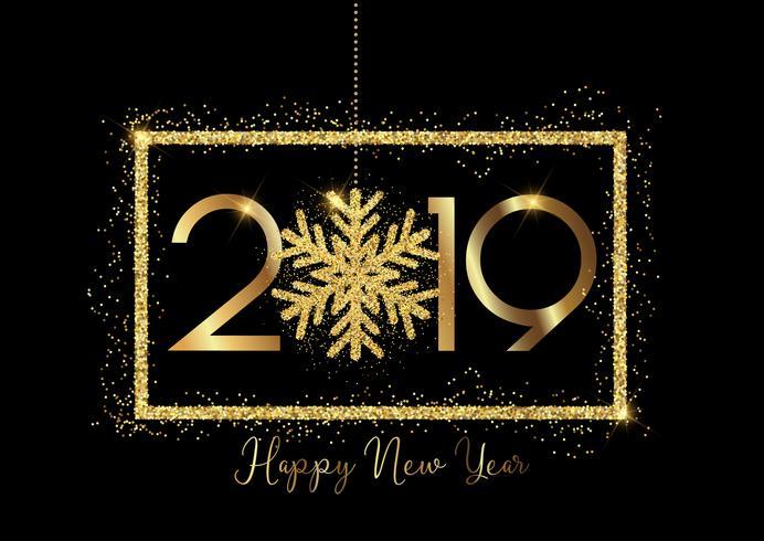 Gott nytt år bakgrund med guld bokstäver och glittrande snöflingor vektor