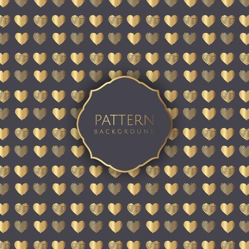 Guld hjärtan mönster bakgrund vektor