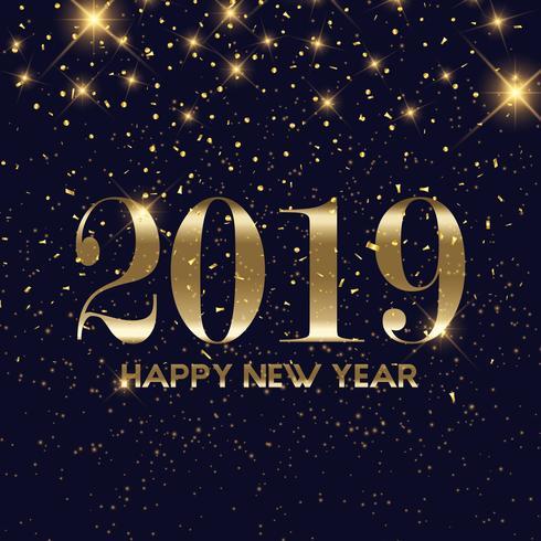 Guldkonfetti Gott nytt år bakgrund vektor