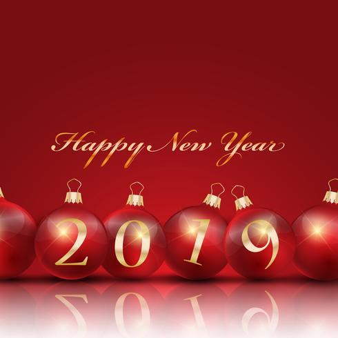 Gott nytt år bakgrund med kulor vektor