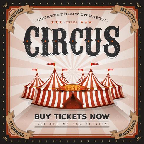 Vintage och Grunge cirkusaffisch vektor