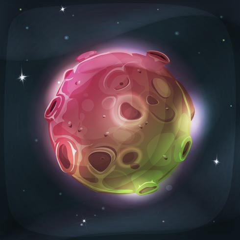 Alien Moon Planet On Space Bakgrund vektor