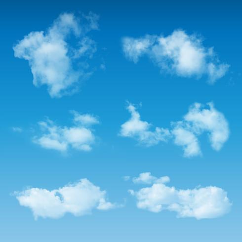 Genomskinliga realistiska moln på blå himmelbakgrund vektor