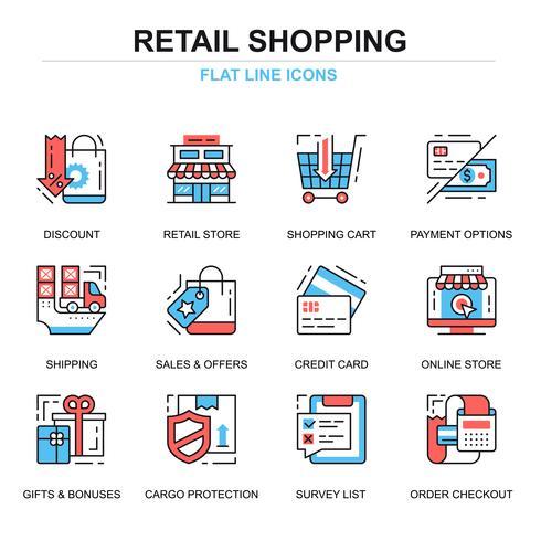 Einkaufen und E-Commerce-Icon-Set vektor