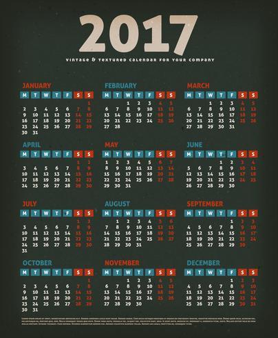2017 Design Calendar auf schwarzem Hintergrund vektor