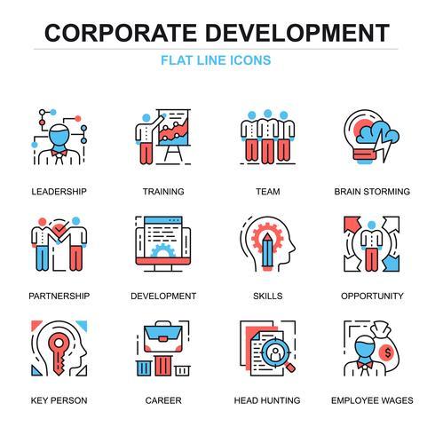 Unternehmensentwicklung Icon Set vektor