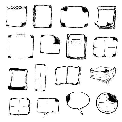 Notizblöcke, Sprechblasen und Büroikonen vektor
