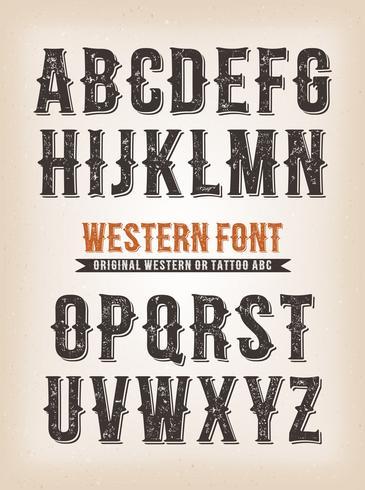 Vintage Western och Circus ABC typsnitt vektor