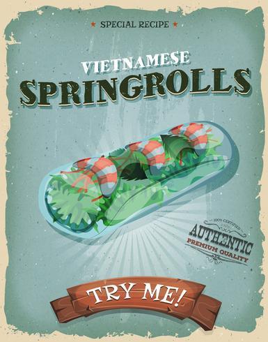 Grunge och vintage vietnamesiska vårrullar affisch vektor