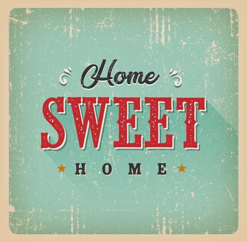 Home Sweet Home Vintage-Karte vektor