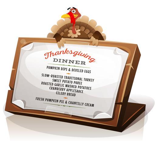 Turkiet Holding Thanksgiving Dinner Menu vektor