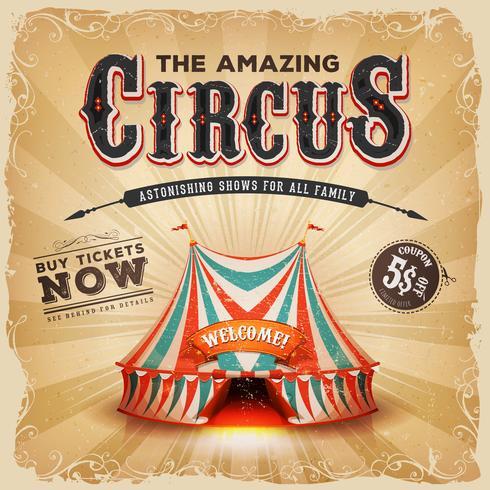 Tappning gammal cirkus kvadrerar affischen vektor