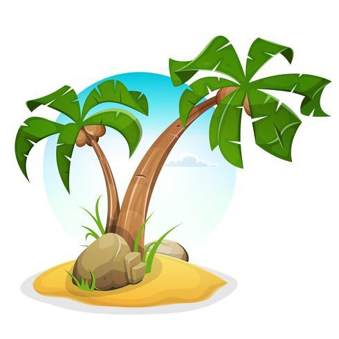 Tropisk ö med palmer vektor