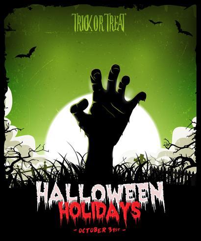 Halloween bakgrund med undead zombie hand vektor