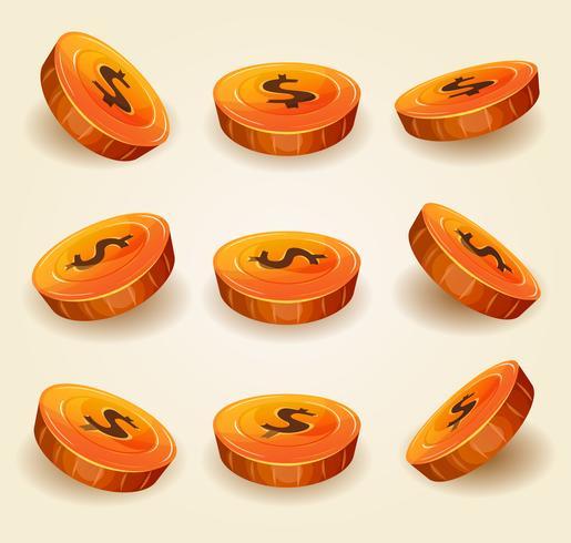 Dollar-Münzen für Spiel Ui eingestellt vektor