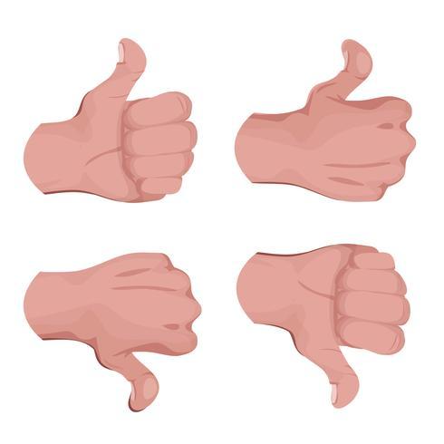Gilla och till skillnad från händer vektor