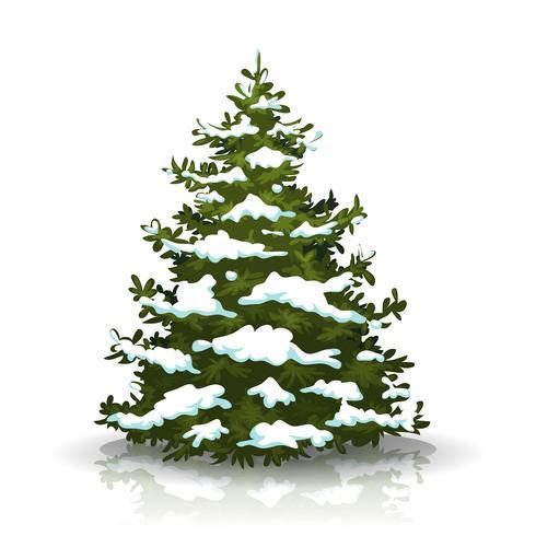 Julgran med snö vektor
