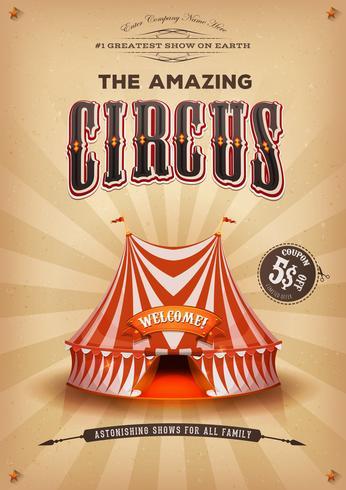 Vintage gammal cirkusaffisch med stor topp vektor