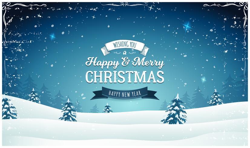Weinlese-Weihnachtslandschaftsweiter Hintergrund vektor