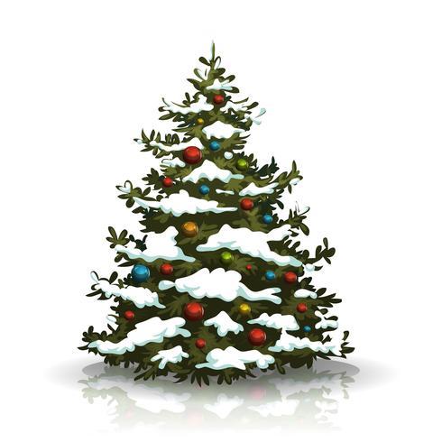 Weihnachtskiefer mit Schnee und Kugeln vektor