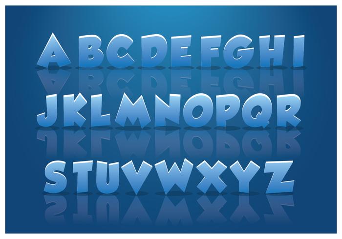 Eisige Alphabete mit blauem Hintergrund vektor