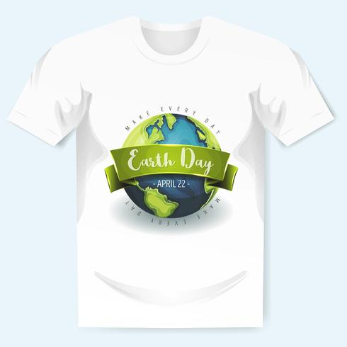 Lycklig Earth Day Banner på T-tröja vektor