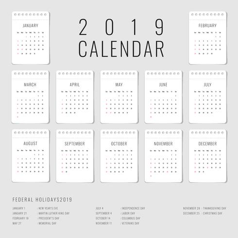 Utskriftsbar kalender 2019 uppsättning med 12 månadsmall vektor