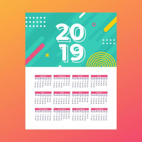 2019 Utskriftsbar kalendervektor vektor