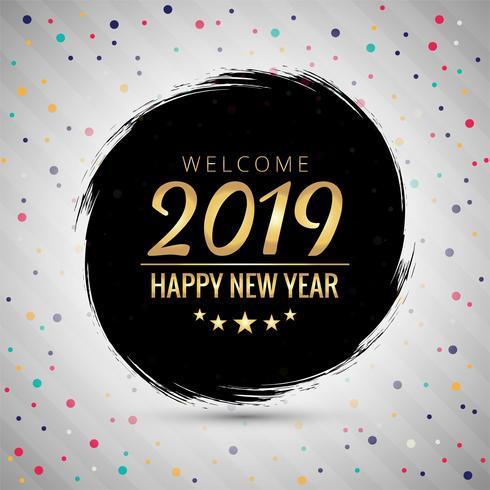 Bunter glänzender Hintergrund des Textes 2019 des guten Rutsch ins Neue Jahr vektor