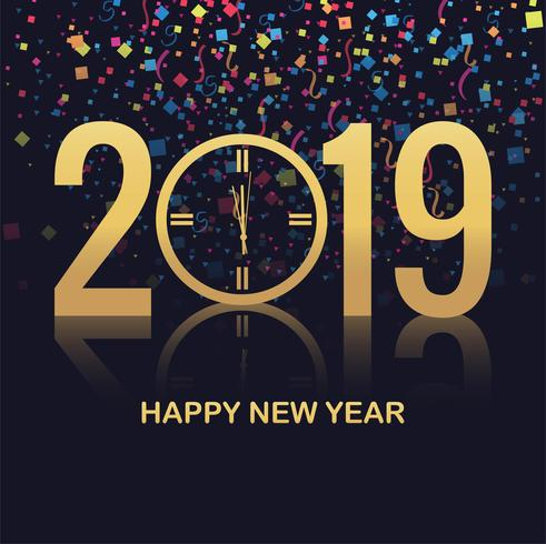 Eleganter bunter Kartenentwurf des guten Jahres 2019 vektor