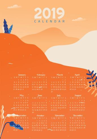 2019 druckbare Kalender Vektor Design
