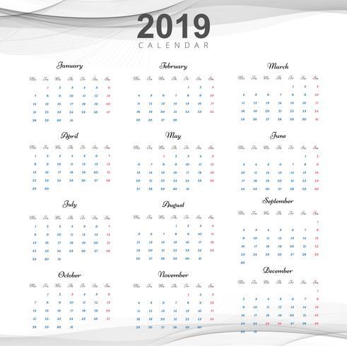 Schöner 2019 Geschäftskalenderentwurf vektor