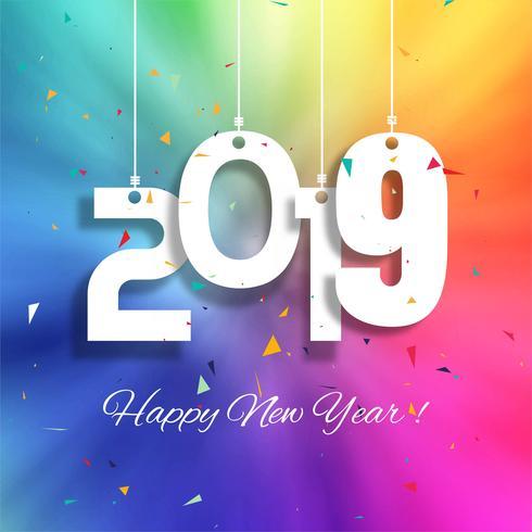 Bunter guten Rutsch ins Neue Jahr-Hintergrundvektor der Feier 2019 vektor