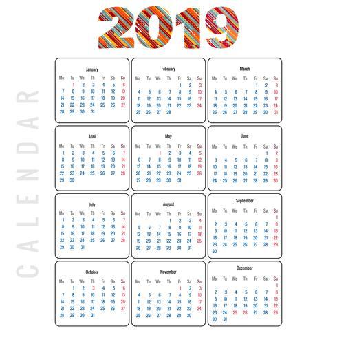 Kalender 2019 Malldesign vektor
