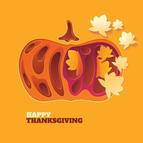 Papercraft Happy Thanksgiving Bakgrund med höstgrönsaker och löv vektor