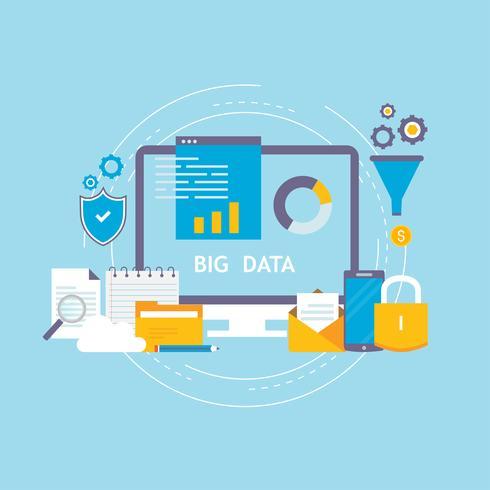 Große Datenanalyse, Datenspeicherung, Vektor-Illustrationsdesign der globalen Analytik flaches vektor