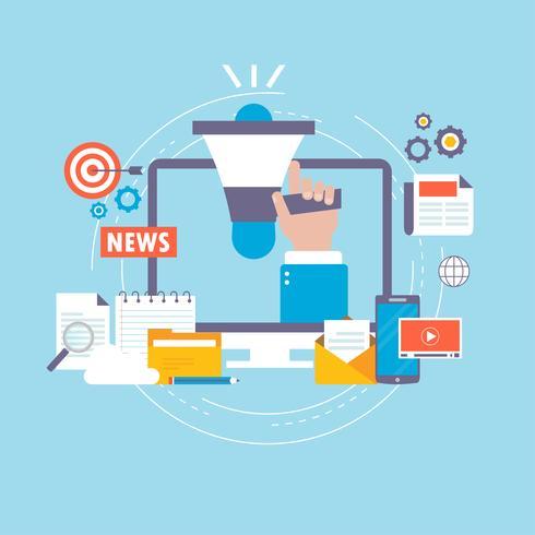 Online-Nachrichten, Zeitung, Vektor-Illustrationsdesign der Nachrichtenwebsite flaches vektor