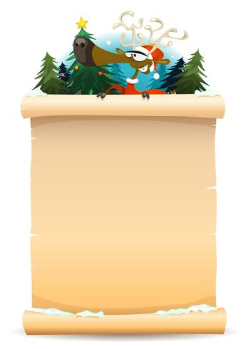 Santa Reindeer Holding Pergment Background vektor