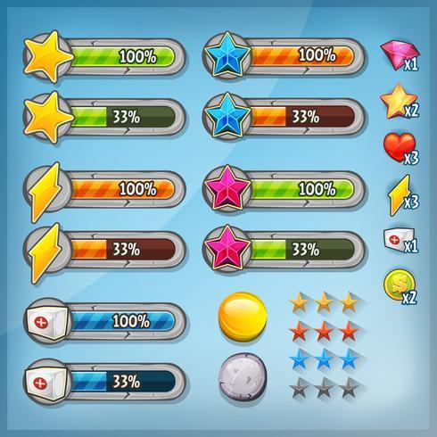 Spiel Ui Kit mit Symbolen und Statusleisten vektor