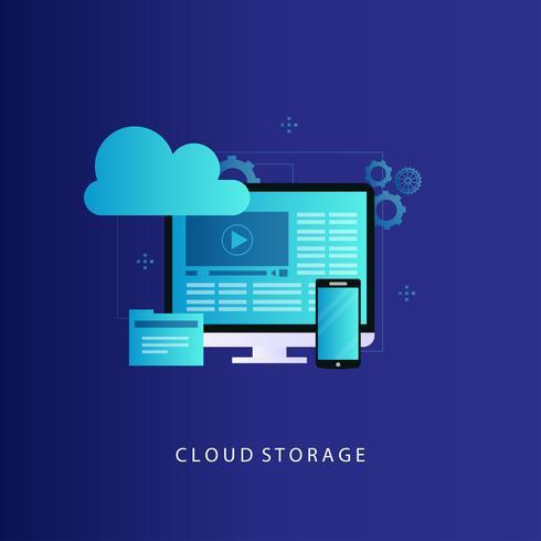 Datenverarbeitungskonzept-Vektorillustration der Wolke vektor