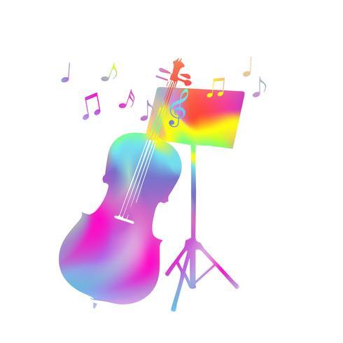 Färgglada musik står med violoncello och musik noter vektor illustration