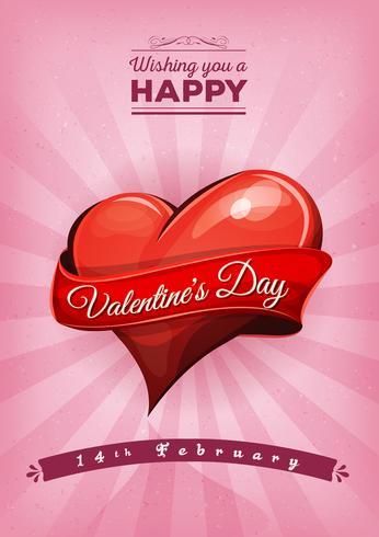 Glückliche Postkarte zum Valentinstag vektor