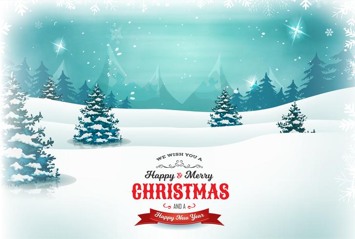 Vintage jul och nyår Landskap vektor