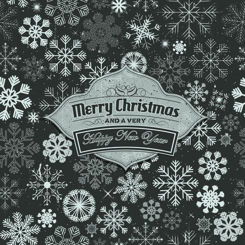 God jul banner på sömlös snöflingor bakgrund vektor